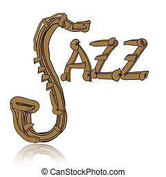 Jazz Music - Jazz music abstract illustration with saxophone...