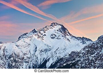 Alpine peak at sunset