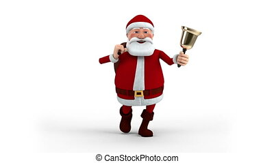 Santa Claus with bag and bell - Cartoon Santa Claus walking...