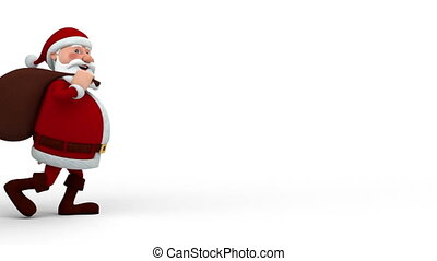 Santa Claus with gift bag walking