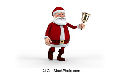 Santa Claus walking with bell - Cartoon Santa Claus walking...