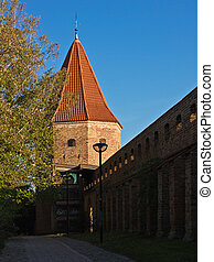 A tower on the city wall in Rostock Germany