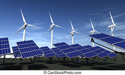Wind turbines and solar panels with a blue sky - Wind...