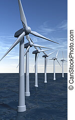 Offshore wind turbines in portrait - Offshore wind turbines...