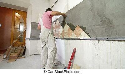 Installing Tiles - Applying mortar