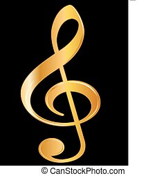 Treble Clef - Golden treble clef music signature isolated on...