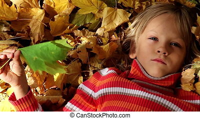 Summer memories - Girl lying on the yellow leaves and...