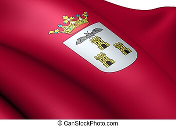 Flag of Albacete. Close up.