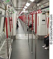 Interior of Subway train. Hong Kong
