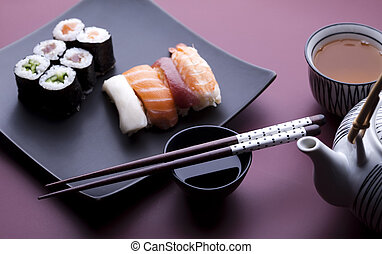 Traditional japanese food, Sushi - Japanese sushi seafood...