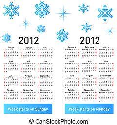 Stylish German calendar with snowflakes for 2012.