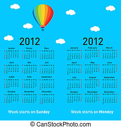 Stylish French calendar with balloon and clouds for 2012.