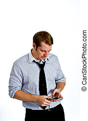 Young Man Texting with Smart Phone - Portrait of a content...