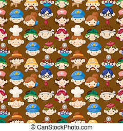 cartoon people face seamless pattern