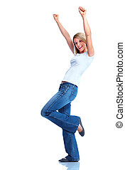 Happy woman. - Happy young dancing woman. Isolated over...