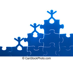 Team work on solving puzzle problem Team work concept