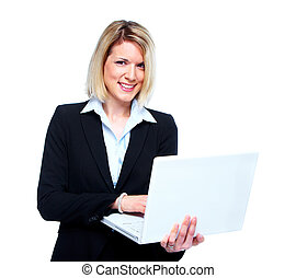 Business woman with laptop.