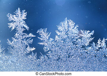 ice frost window - The patterns made by the frost on the...