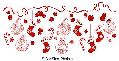 Horizontal border with traditional Christmas symbols.