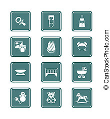 Baby objects icons   TEAL series