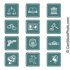 lei, ordem, ícones, |, Teal, série