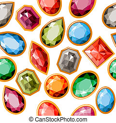 Seamless pattern with different jewels