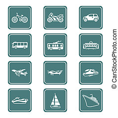 Transportation icons | TEAL series - Modern and vintage...