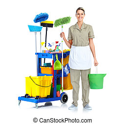 Cleaner maid woman - Cleaner maid woman with mop and janitor...
