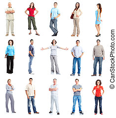 Set of casual people group - Group of casual people Isolated...