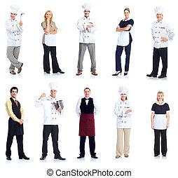 cozinheiro, Garçonete, peope, Trabalhadores