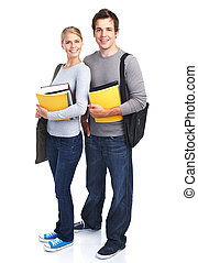 Students teens - Happy students couple with books Isolated...
