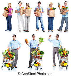 People with a grocery cart. - Group of shopping people with...