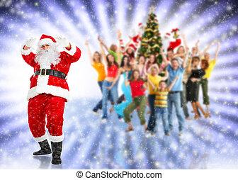 Santa claus at christmas party.