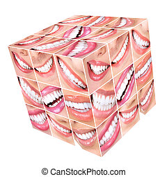 Smile and teeth. - Smiling woman mouth with healthy teeth....