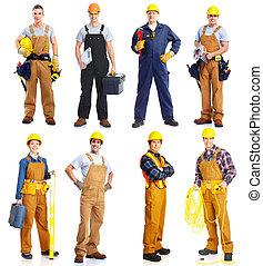 grupo, trabajadores, gente, construcción