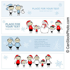 Happy family together, christmas holiday banner for your design