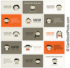 Set of business cards with faces for your design