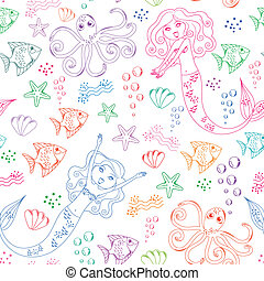 sea life pattern - seamless pattern with doodles of mermaids...
