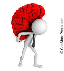 Businessman carrying brain on his shoulders. Conceptual...