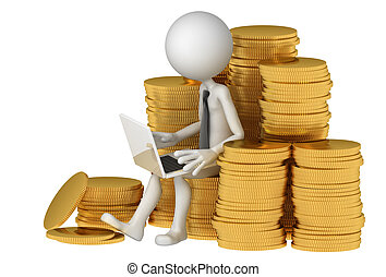 Businessman with laptop sitting on stack of coinss...