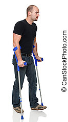 man with crutch - young man with crutch isolated on white