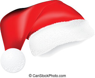 Santa Hat with Shadow - Red Santa Claus hat with shadow for...