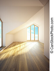 empty mansard room with windows - 3d rendering the empty...