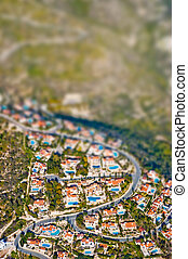 Residential area with tilt shift lens effect - Aerial view...
