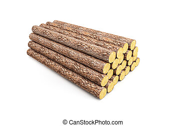 stack of pine logs, 3d render