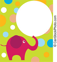 pink eilephant on colorful background , vector
