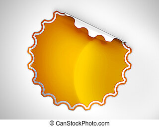 Orange round hamous sticker or label over grey spot light...