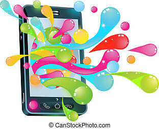 Cell phone jelly bubble concept - Mobile phone smartphone...