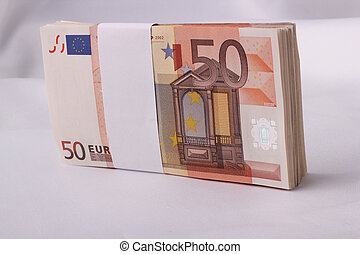 money-stack of 50 Euro banknotes