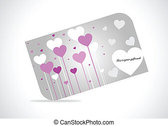 Hearts Giftcard - Giftcard with hearts on gray gradiant...
